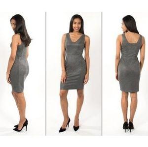 Betabrand Sudden Chemistry Gray Shimmer Dress